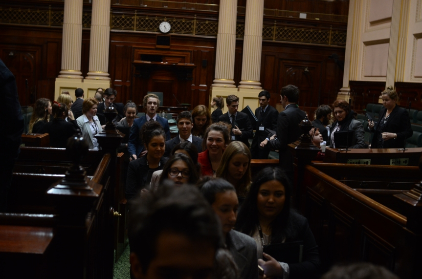 Youth Parliament retires for the day. Photo - Finbar O'Mallon