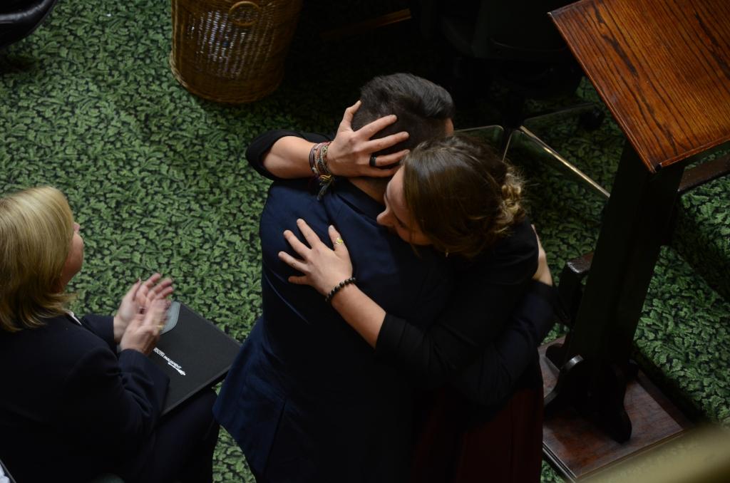 The new Youth Governor, Aldo, hugs the 2014 Youth Governor, Will Stojkovski. Photo - Sam Meyer
