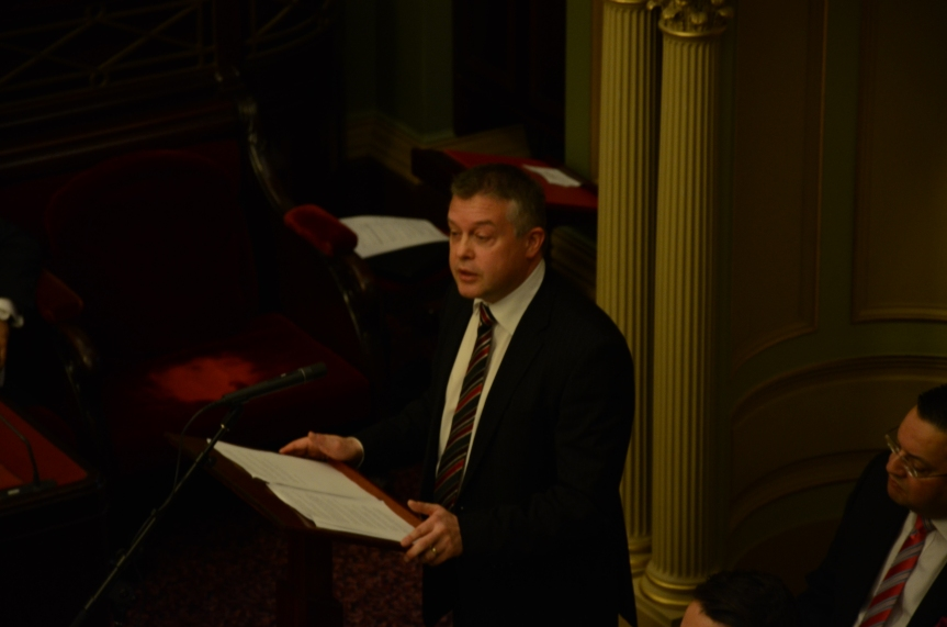 Former Minister for Youth Affairs, Ryan Smith, addressing Youth Parliament in 2014. Photo - Finbar O'Mallon