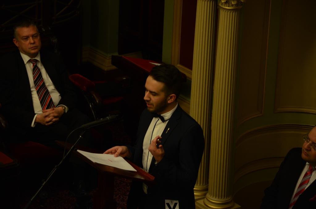 Youth Governor addressing the chamber. Photo - Finbar O'Mallon