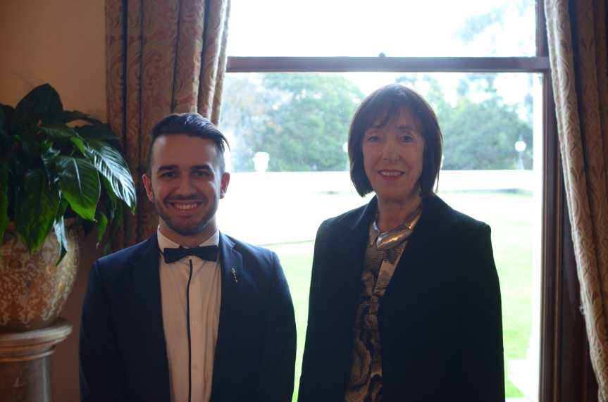 The Youth Governor, Will Stojkovski, with Lieutenant Governor of Victoria, Marilyn Warren AC QC Photo - Finbar O'Mallon