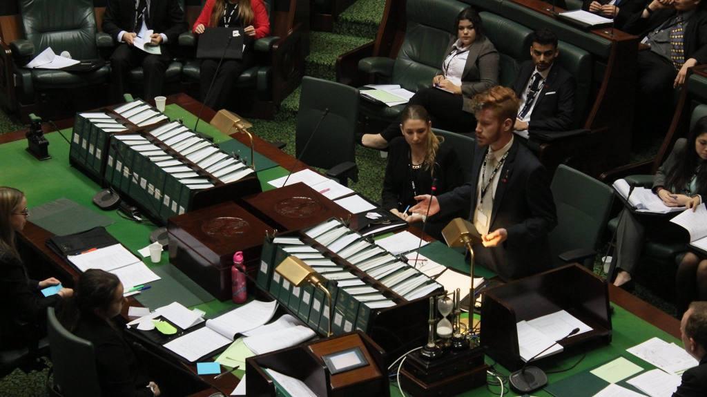 Youth Premier Fleetwood McGowan speaks in support of the bill