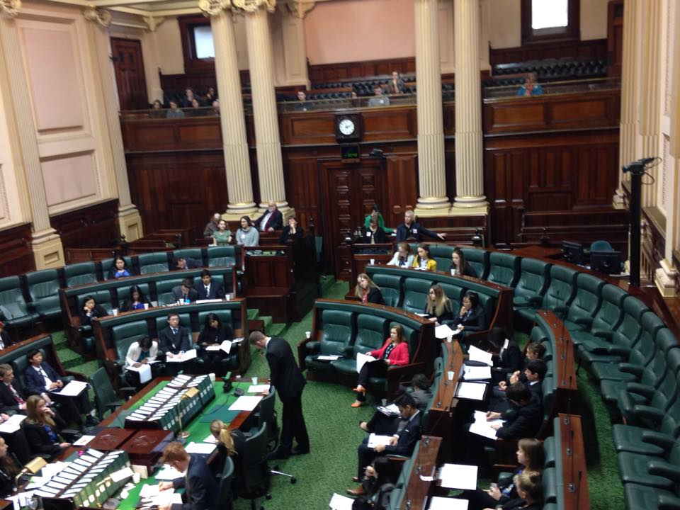 Hoppers Crossing Secondary College team member Toby Brooks argues speaking in support of the bill